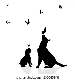 Vector silhouette of a dog surrounded by butterflies.