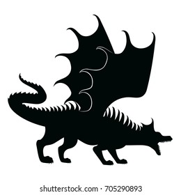 Vector silhouette of dragon with open mouth.Angry dragon in a threatening pose
