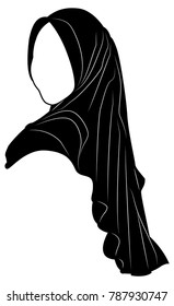 Vector Silhouette Drawing of Muslim Woman with Hijab ,Arab Woman . For Logo Template Icon Hijab Store Muslim Store etc.