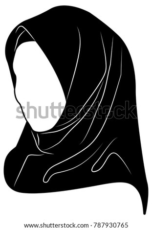Vector Silhouette Drawing Of Muslim Woman With Hijab Arab For Logo Template Icon