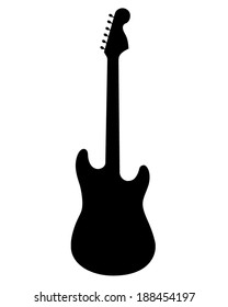 A vector silhouette of an electric guitar