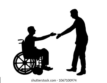 Vector silhouette employer intends to shake hands with a man in a wheelchair. The concept of providing work to people with disabilities