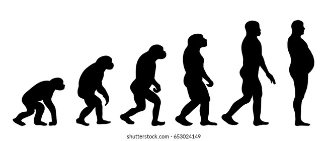 Vector silhouette of evolution of man on white background.