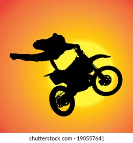 Vector silhouette of extreme jumps on a motorbike.