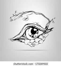 Vector silhouette of eyes