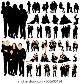 Vector, silhouette family, collection