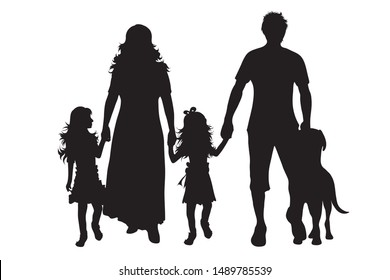 Vector silhouette of family with dog on white background. Symbol of mother, father, child,husband, wife,daughter,animal, pet.
