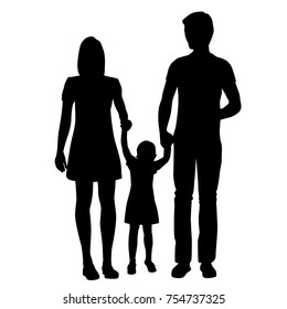 Vector silhouette of a family, man, woman and girl, black color, isolated on white background