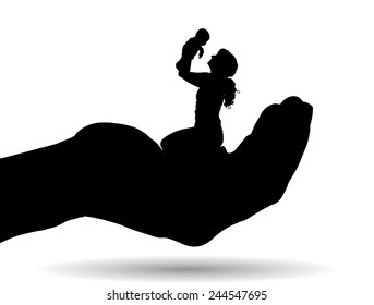 Vector silhouette of a family on palm on white background.