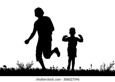 Vector silhouette of a family on a walk.