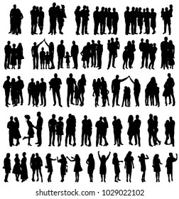 vector, silhouette family, set