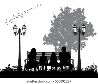 vector silhouette of family sitting