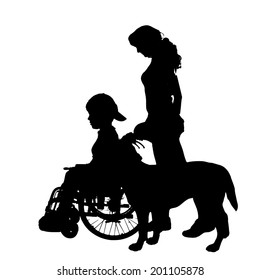 Vector silhouette of a family in a wheelchair.