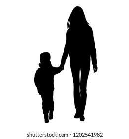 Vector silhouette of a family,  woman and child, walking, group people, black color, isolated on white background