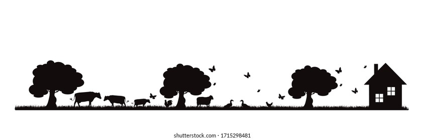 Vector silhouette of farm animals on garden on white background. Symbol of nature and agricultural.