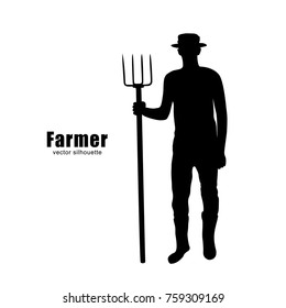 Vector silhouette of a farmer with a pitchfork.