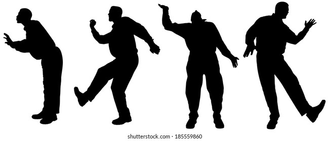 Vector silhouette of a fat man on a white background.