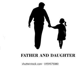 vector silhouette of a father and a daughter