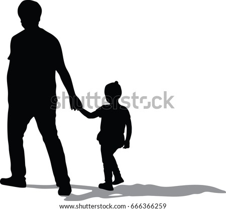 Vector Silhouette Father Daughter Holding Hands Stock Vector