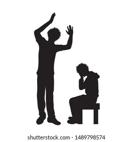 Vector silhouette of father who screaming on his son on white background, Symbol of angry, annoy, sad,problem.