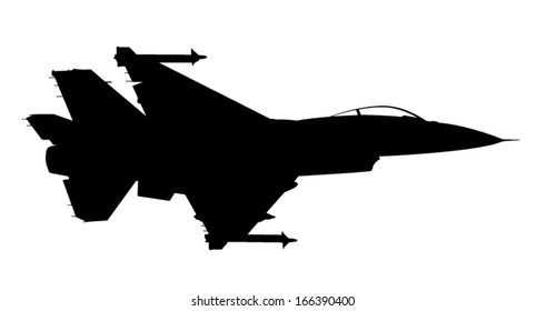 Vector silhouette of the fighter jet (F-16) in flight.