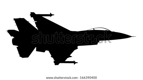 Vector Silhouette Fighter Jet F16 Flight Stock Vector Royalty Free 166390400