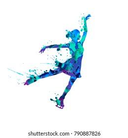 Vector silhouette of figure skating girl. Watercolor splash pain
