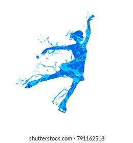 Vector silhouette of figure skating girl. Blue splash pain