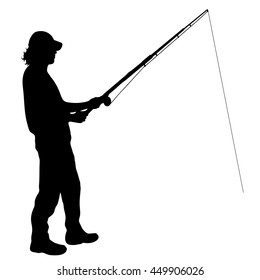 Vector silhouette of fisherman on white background.