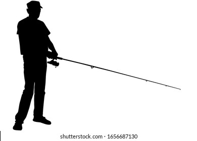 Vector silhouette of a fisherman who catches a fish on a spinning