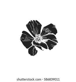 Vector silhouette of a flower with petals
