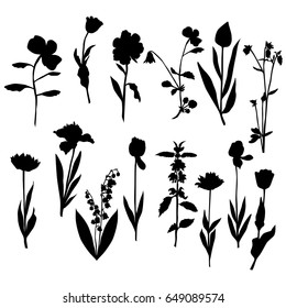 Vector silhouette flowers, rose, tulip, lily of the valley, dandelion, black color, isolated on white background