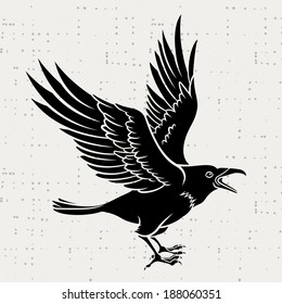 Vector silhouette of a flying black raven