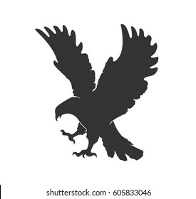 vector silhouette flying eagl