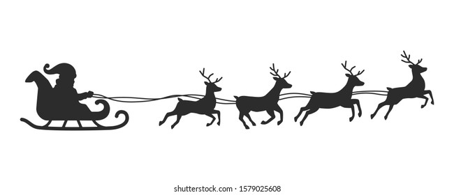 Vector Silhouette of Flying Santa and Christmas Reindeer