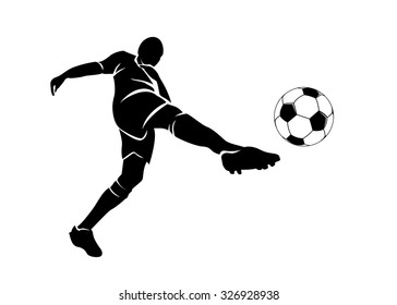 Vector silhouette of a football player with the ball