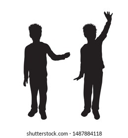 Vector silhouette of children´s friends on white background. Symbol of child, siblings,boy, brother,free, funny.