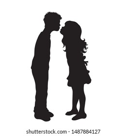 Vector silhouette of children´s friends on white background. Symbol of child, girl,siblings,sister,boy, brother,love.kiss.