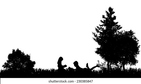 Vector silhouette of a friends who reads in nature.