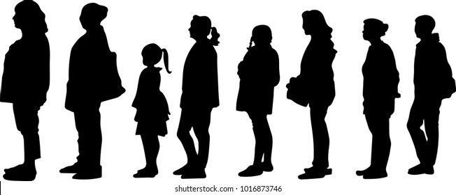 vector silhouette of full length side view of people standing in a row against white background