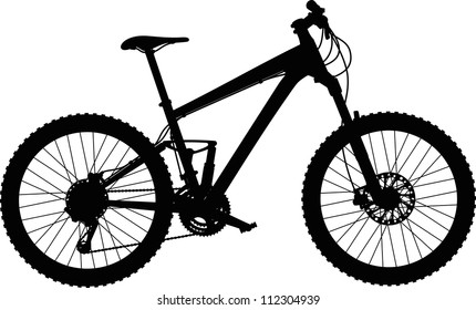 vector silhouette of full-suspension mountain bike