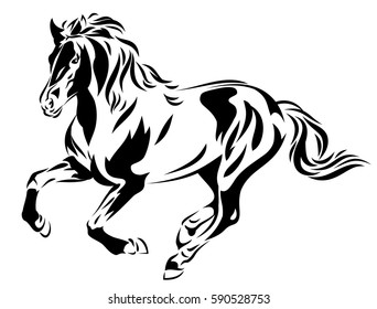 Vector silhouette of a galloping horse