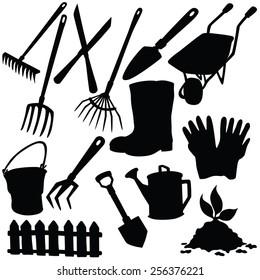 Vector silhouette of garden supplies