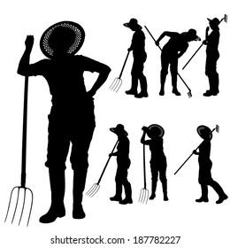 Vector silhouette of a gardener on white background.