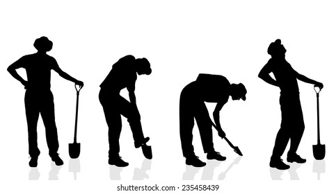Vector silhouette of a gardener on a white background.