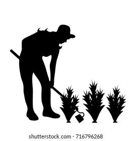 Vector silhouette of gardener on white background.