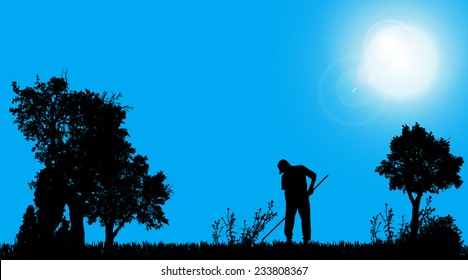 Vector silhouette of a gardener working in the garden.