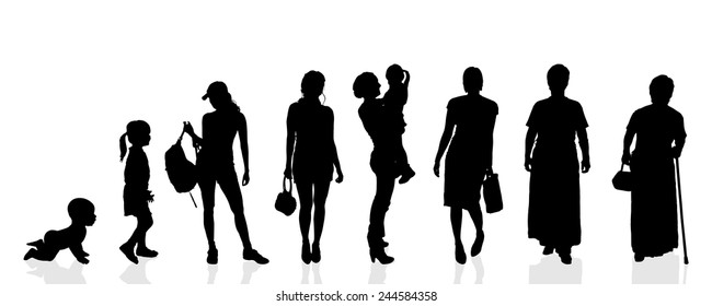Vector silhouette generation women on a white background.