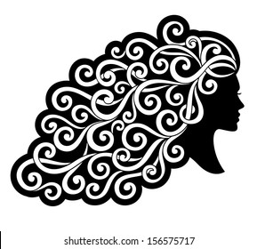 Vector silhouette of the girl with curly hair