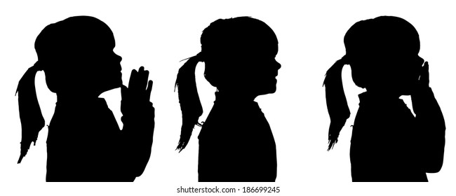 Vector silhouette of girl in different situations.